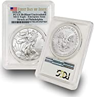 2020 -(P) 1 oz American Silver Eagle Coin Brilliant Uncirculated S$1 (Struck at Philadelphia - First Day of Is