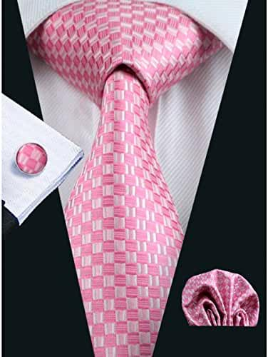 Hi-Tie Pink Woven Silk Tie Necktie Handkerchief Cufflinks set For Handsome Men