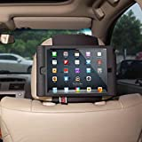 TFY Kids Car Headrest Mount Holder for iPad Mini & iPad Mini 2 - Detachable Lightweight Shockproof Anti-slip Soft Silicone Handle Case, Kids Security Hands-Free Headrest Travel Bracket Stand for Road Trip - Black