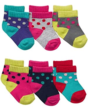 Carter's Polka Dotsocks, 6 Pairs, Size 3-12 Months
