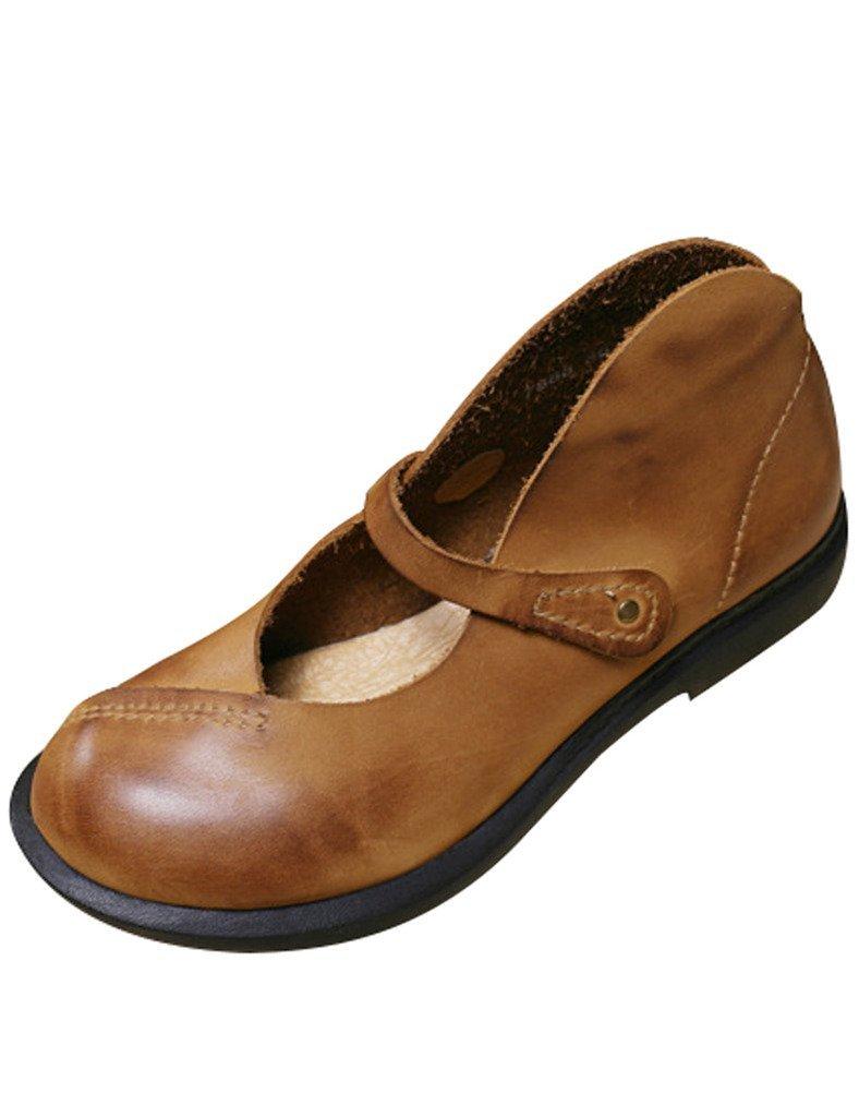 Youlee Mujeres Punta Redonda Cuero Zapatos Planos 39 EU|Amarillo