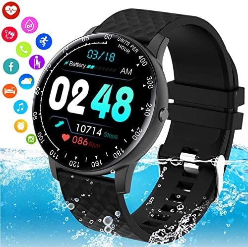 Burxoe Smart Watch,Smartwatch for Android Phones,Ip67 Waterproof Fitness Watch with Blood Pressure Heart Rate Monitor Activity Tracker with Pedometer Calorie Compatible for Samsung iOS Women Men
