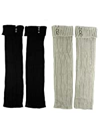 kilofly Leg Warmers Value Pack [Set of 2 Pairs], Solid with Studs