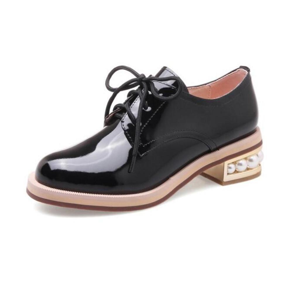 Zapatos de mujer Charol Pearl Heel Suela Oxford Cordones Tamaño 36 a 41 , black , EU40 EU40|black