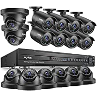 SANNCE 16 Channel 1080P DVR HD-TVI Security Camera System 1080P (8) Bullet Cameras and (8) Dome Cameras Indoor/Outdoor 100ft Night Vision IP66 Weatherproof Motion Alert-- No HDD