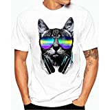 kaifongfu Men Boy T Shirt, Plus Size Print Tees Shirt Short Sleeve Cotton T Shirt Blouse Tops (M, White cat)