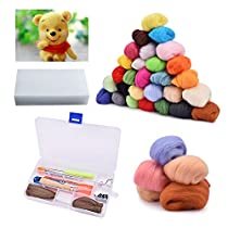 BASEIN Needle Felting Starter Kit Set, 36 Colors Wool Roving Felting Basic Kit Wool Felt Tools for Hand Spinning DIY Craft Projects