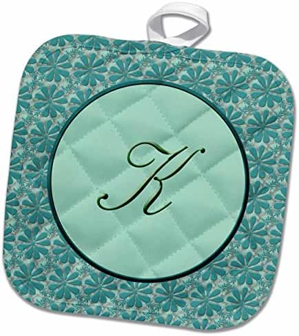 3dRose 777images Designs Monograms - Elegant letter K in a round frame surrounded by a floral pattern all in teal green monotones - 8x8 Potholder (phl_36032_1)