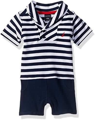 Nautica Baby Boys' Short Sleeve Shawl Collar Knit Romper