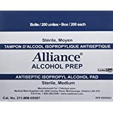 Alcohol Prep Pads by REDMed, Sterile Wipes, Medium 2-Ply Cotton 70% Isopropyl Individually Wrapped Box of 1200