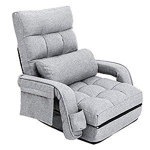 座椅子 ソファベッド 肘掛け連動 ハイバック 42段階リクライニング ふあふあフロアチェア 静電気防止生地 (グレー)