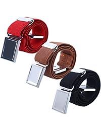 AWAYTR Kids Magnetic Belts for Boys - 3 Pcs Adjustable Elastic Toddler Belt (Red/Brown/Black)