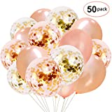 Rose Gold Confetti Balloons 50 Pack, 12 Inch Latex Party Balloons with Confetti Dots for Graduation Party Supplies Decorations