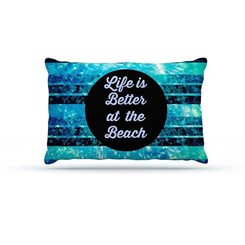 30 by 40\ Kess InHouse Ebi Emporium Life is Better at the Beach  bluee Aqua Fleece Dog Bed, 30 by 40