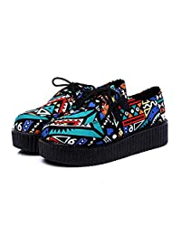 Awmerny Boots Flat Platform Shoes Black Women Casual Shoes Lace-Up Female Shoes Large Size