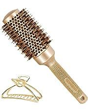 "SUPRENT Round Brush,Boar Bristles Round Brush,Nano Thermic Ceramic & Ionic Roller Hairbrush for Blow Drying, Curling&Straightening, Volume&Shine (2.9"" & Barrel 1.7"")"