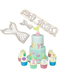 (Set of 3)The Easiest Sea life cookie cutters-Mermaid tail cookie cutters with Starfish、Seahorse、Seashell、Octopus 、fish fondant cutters for cake decoration、cupcake topper