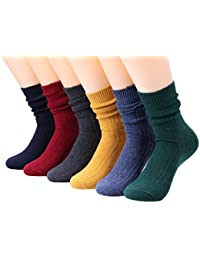 6 Pairs Womens Cotton Blended Knitted Boot Crew Socks Colorful 5-10 WS88