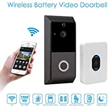 Wireless Video Doorbell,720P HD WiFi Smart Video Doorbell Camera with Chime,Motion Detection,Two Way Talk,Home Security Doorbell Camera for IOS/Android,2 Rechargeable Battery, Built-in 8G Storage Card
