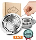 Kitchen Sink Drain Assembly Garbage Disposal 2PCS Kitchen Sink Strainer, Magift Stainless Steel Sink Drain Strainer with Handle - Large Wide Rim 4.3