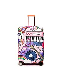 """YUL Luggage Protector Cover Suitcase Washable Protective Cover Travel Trolley Case for 19-29 Inch Luggage (Rock Music, L(26""""-29""""))"""