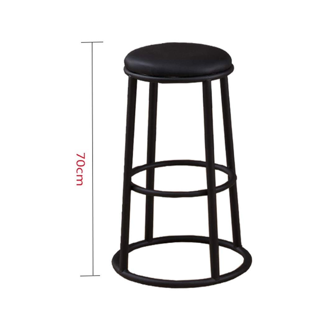 Sand black 70cm A WEIYV-Barstools,bar Chair Solid Wood bar Stool Modern Minimalist Wrought Iron bar Stool Round bar American bar Stool high Stool Personality Family seat American bar Stool