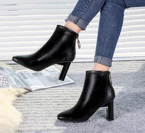 JUNKAI Botas Zapatos de Mujer Mujer Mujer de otoño de Invierno, Botas de Chelsea, Botas de Martin de Fondo Plano, Botines y Botas, Treinta y Siete 42cc5d