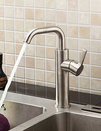 AI LI WEI Brushed Chrome Finish Stainless Steel Contemporary Kitchen Faucet