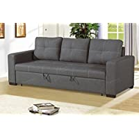 Modern Functional Blue Grey Linen-Like Fabric Convertible Sofa with Pull-Out Bed