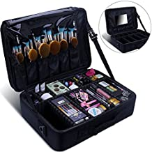 Relavel Makeup Train Case 3 layer Multi Functional Professional Makeup Bag Large Make Up Artist Box Cosmetic Organizer with DIY Dividers Movable Mirror for Cosmetics Makeup Brushes Beauty Tool