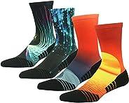 HUSO Unisex Striped Print Athletic Quarter/Ankle Running Socks 4 Pairs