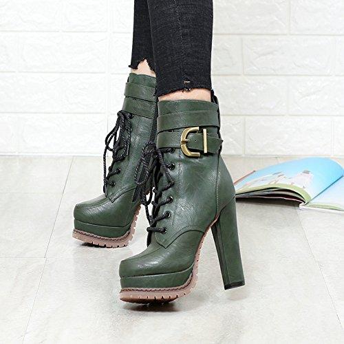 KHSKX-Grüne Hochhackige Schuhe Mode Mode Mode Stiefel Spitzen Seite Reißverschluss Gürtel Mit Dicken Stiefeln Wasserfeste Stiefel Martin 5b73f7