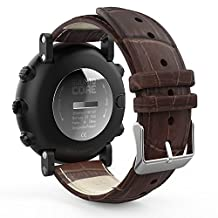 "MoKo Suunto Core Watch Band, MoKo Premium Soft Genuine Leather Crocodile Pattern Replacement Strap Wristband Bracelet for Suunto Core Smart Watch, Fits 5.31""-8.27"" (135mm-210mm) Wrist, Brown"