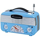 Coronado Vintage Style Retro Blue AM/FM Portable Radio w/Leatherette Handle