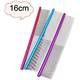 Fabal Pet Dog Comb Professional Steel Hair Trimmer Comb Dog Cat Cleaning Brush Pet Dog Cat Accessories (Purple)