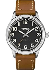 Timex Mens TW2R82100 New England Brown/Black Leather Strap Watch