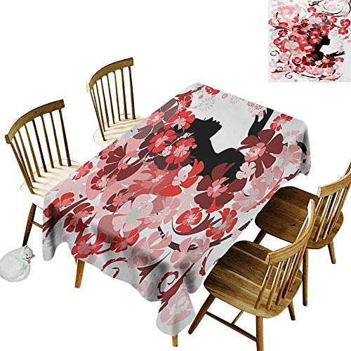 - Mannwarehouse Girls Rectangular Tablecloth Flower Girl with Hair Long Swirling Pink Blossoms Hair Dressers Beauty Feminine Washable Tablecloth W52 x L70 Red Pink Black