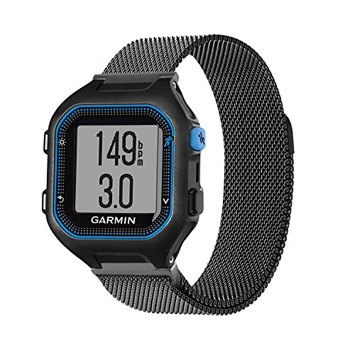 Garmin Forerunner 25(Large) Replacement Bands - C2DJOY Milanese Stainless Steel watch band Only For Garmin Forerunner 25(Large) with Unique Magnet Lock, No Buckle Needed, Black(6.1-8.1in)