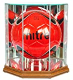 Soccer Ball Octagon Shaped Glass Display Case with Walnut Base