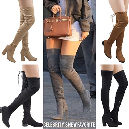 Image of RF ROOM OF FASHION Women's Over The Knee Block Chunky Heel Stretch Boots – Available in Medium Wide Calf