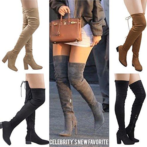 High Knee ROF Suede Over Block Vegan Comfy Heel Olive Calf Thigh Side Su Zipper Women's Medium Fashion The Boots rOXrPWvH
