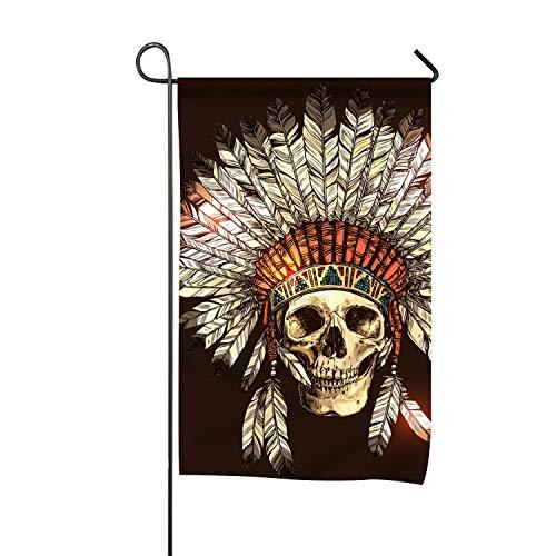 jiajufushi American Indian Skull Clip Art Welcome Garden Flag Vertical Outdoor and Indoor