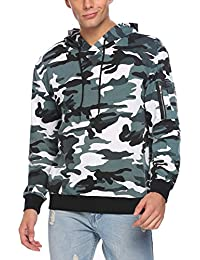Mens Camo Pullover Hoodie Camouflage Hooded Sweatshirts With Zipper Pocket