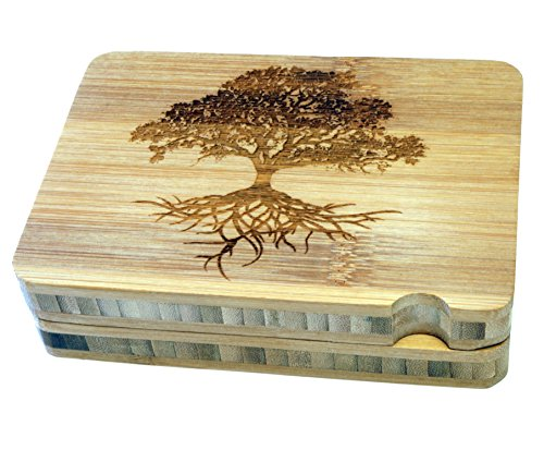 Micro Crusher High Quality Two Piece Megnetic Bamboo Rolling Tray - Tree of Life Design - Item # RT-006