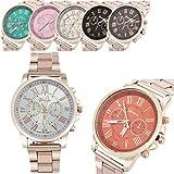 Fineshow Roman Number Geneva Stainless Steel Quartz Sports Dial Wrist Watch