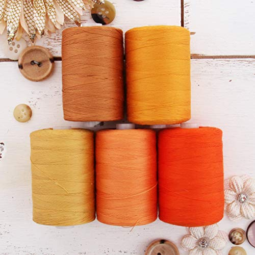 (Threadart 100% Cotton Thread Set | 5 Orange Tones | 1000M (1100 Yards) Spools | For Quilting & Sewing 50/3 Weight | Long Staple & Low Lint | Over 20 Other Sets Available)