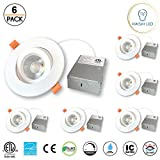 4 inches Gimbal LED Recessed Light with Junction Box, 15W,1000 Lumen, Tilt & Rotate, TRIAC Dimming, ETL & Energy Star Listed, 5000K White, Pack of 6