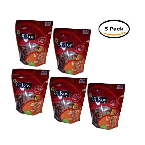 Munchy Bone Peanut Butter Flavor Chews Dog Treats, 7 Ct ()