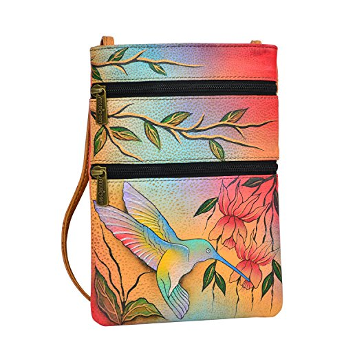 Anuschka Women's Genuine Leather Hand Painted Double Zip Travel Crossbody Bag - Flying Jewels