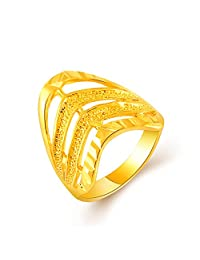 YLR 24K Gold Plated Fine Fashion Design Women Fashion Jewelry Engagement Band Ring